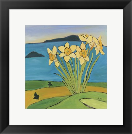Framed Daffodils On The Hill Print