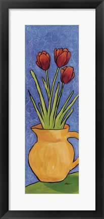 Framed Tulips In Yellow Vase Print