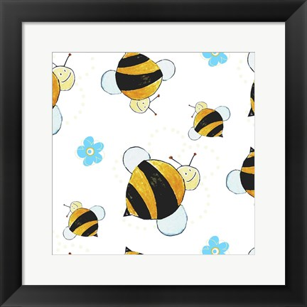 Framed Bees and Blue Flowers Print