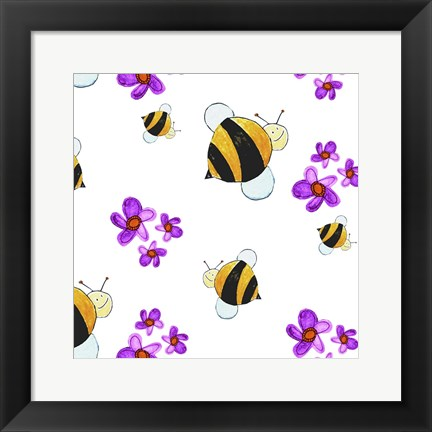 Framed Bees and Pink Flowers Print