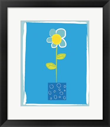 Framed Blue Flower in Blue Pot Print