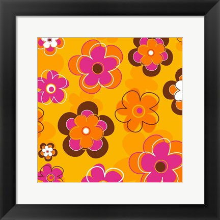 Framed Floral on Orange Print