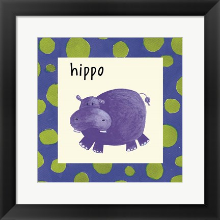 Framed Hippo with Border Print