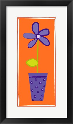 Framed Purple Flower in Purple Pot Print