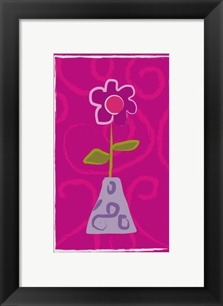 Framed Red Flower in Purple Pot Print
