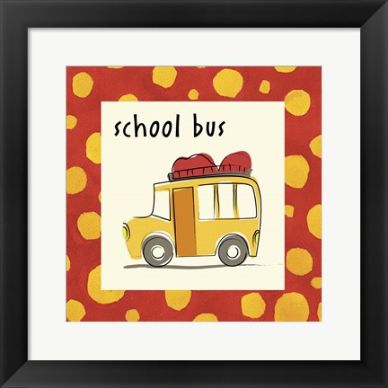 Framed School Bus with Border Print