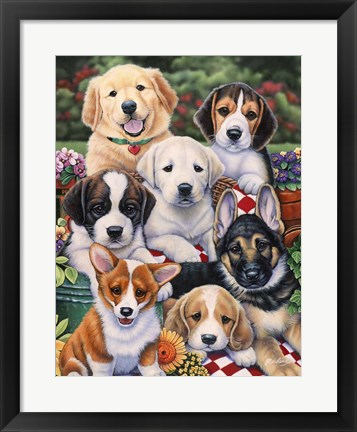 Framed Garden Puppies Print