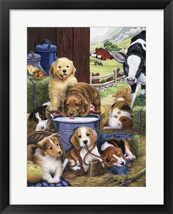 Framed Puppy Hayday Print
