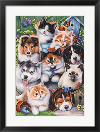 Framed Kittens & Puppies In The Garden Print