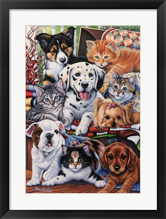 Framed Country Pups and Kittens II Print