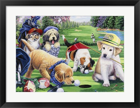 Framed Golfing Puppies Print