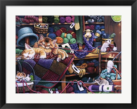Framed While Kittens Are Away Mice Will Play Print
