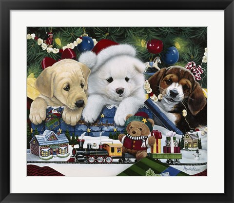 Framed Curious Christmas Pups Print