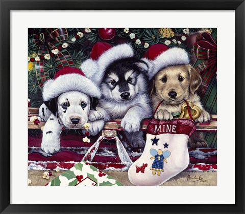 Framed Tail Wagging Christmas Print