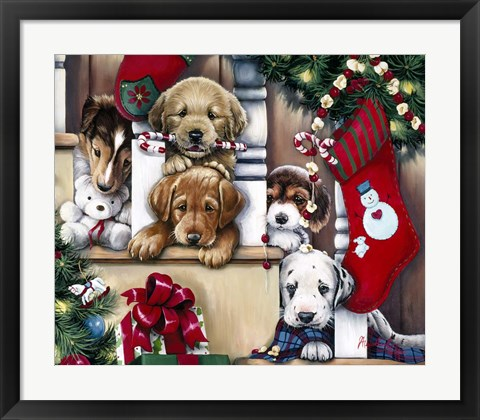 Framed Christmas Puppies On The Loose Print