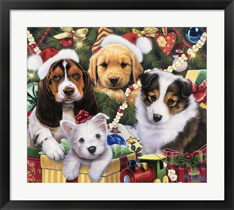 Framed Puppy Surprise Print