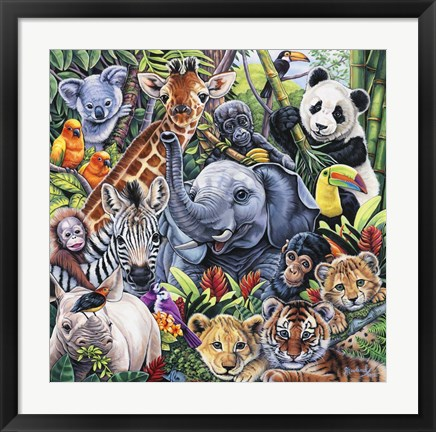 Framed Jungle Babies Print