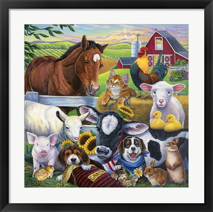 Framed Farm Friends Print