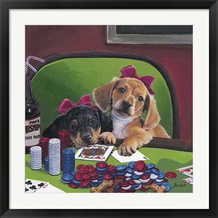 Framed Poker Dogs 3 Print