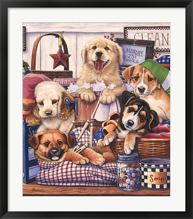 Framed Suds and Pups Print