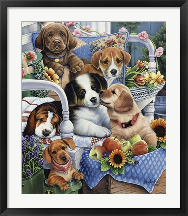 Framed Country Pups Print