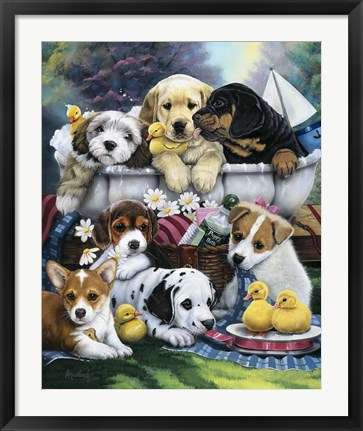 Framed Bath Time Pups Print