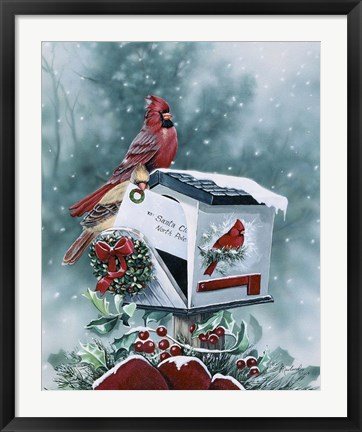 Framed Christmas Cardinals Print