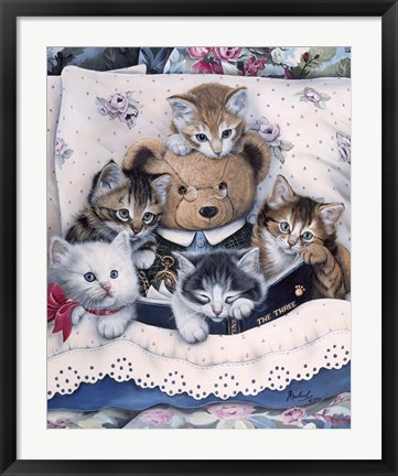 Framed Kittens And Teddy Bear Print
