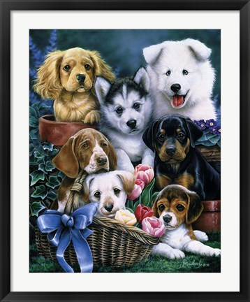 Framed Puppies Print