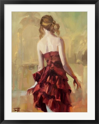 Framed Girl in A Copper Dress 2 Print