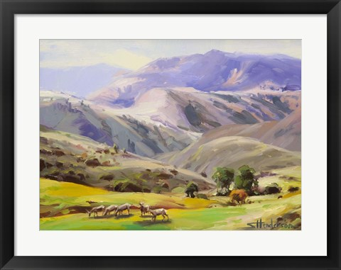 Framed Grazing In The Salmon River Mountains Print