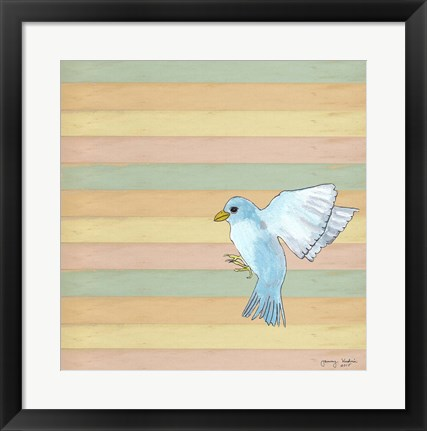 Framed Flying Blue Bird Print
