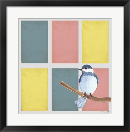 Framed Rectangles And Blue Bird Print