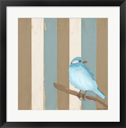 Framed Teal Bird With Stripes Print
