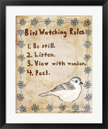 Framed Bird Watching Rules Print