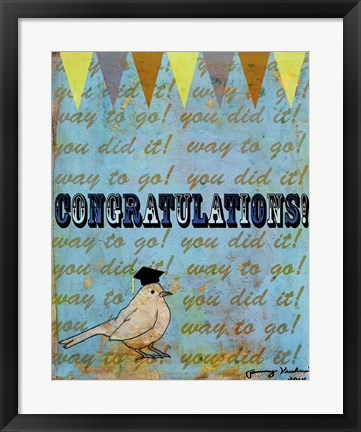 Framed Congratulations Bird Print