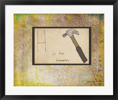 Framed H is For Hammer Print
