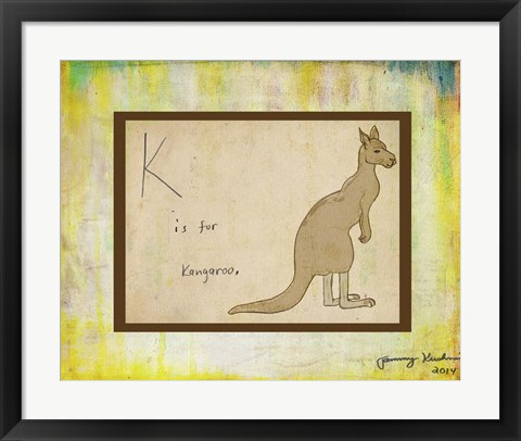 Framed K is For Kangaroo Print