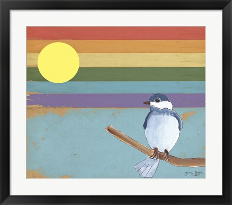 Framed Rainbow And Bird Print