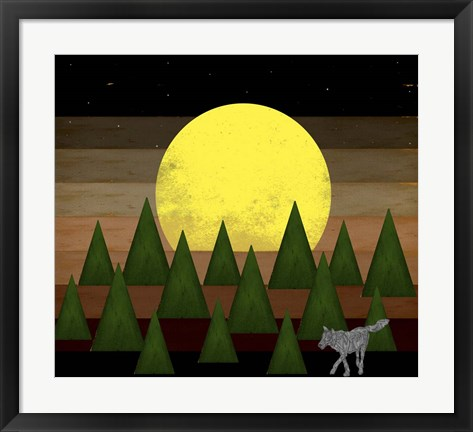 Framed Nighttime In The Forest With Wolf Print