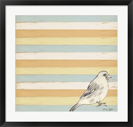 Framed Bird Stripes Print
