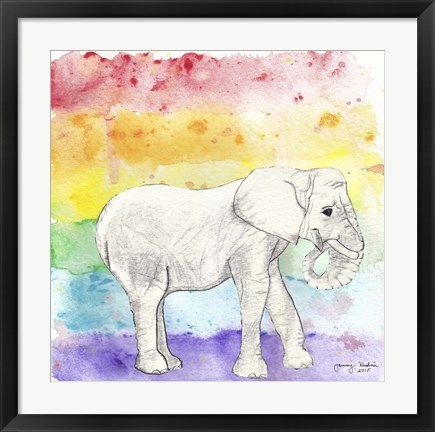 Framed Rainbow Elephant Print
