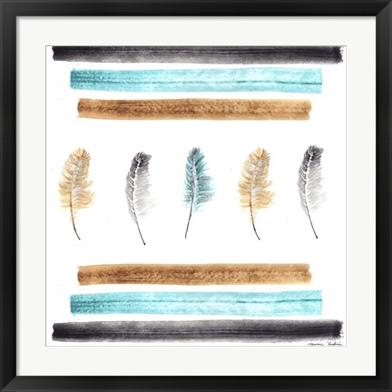 Framed Feathers Aligned Print
