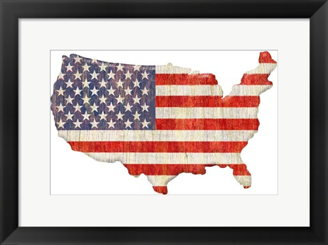 Framed American Flag Continent Cut Out Print