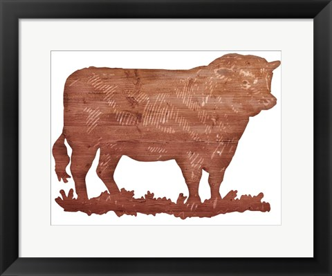 Framed Bull Cut Out Print