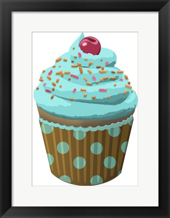Framed Chocolate Cupcake Blue Print