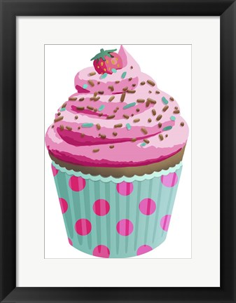 Framed Chocolate Cupcake Pink Print