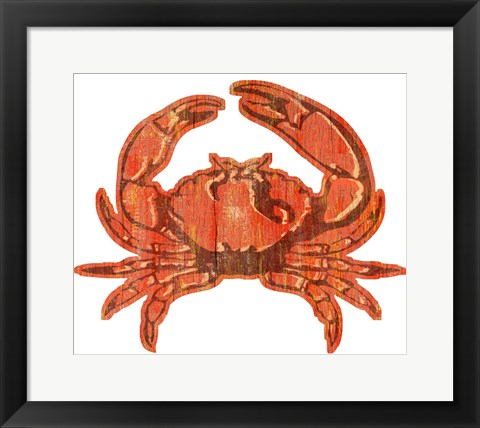 Framed Crab Wood Cut Out Print