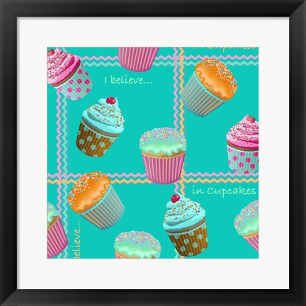 Framed Cupcake Turquoise Print