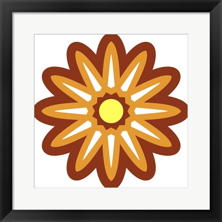 Framed Mod Flowers Cut out Rust Print